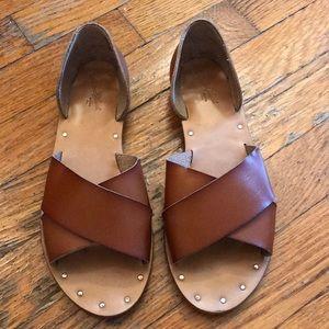 Tan sandals, lightly worn